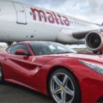 Ferrari F12 races Air Malta A320 jet