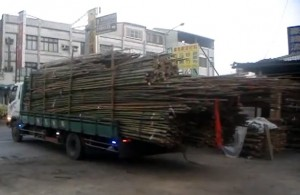 bamboo truck unloading 300x195  How to unload a truckload of bamboo poles