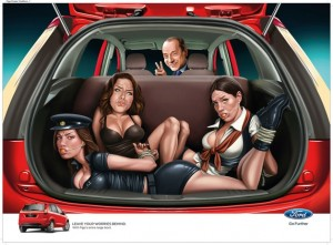 ford figo sexist print ad silvio berlusconi 628 300x221  Ford of India in hot water for Figo celebrity bondage ads
