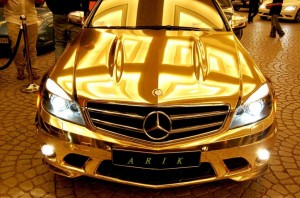 23 Chrome Gold Mercedes Benz C63 AMG 5 300x198 The Gold Mercedes